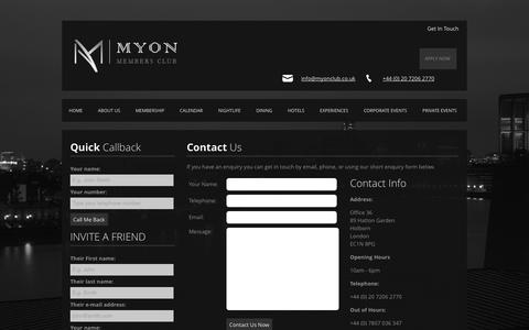 Screenshot of Contact Page myonclub.co.uk - Contact Us | Myon Members Club - captured Oct. 26, 2014