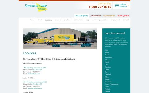 Screenshot of Locations Page servicemasterbyrice.com - Disaster Restoration Company Locations - ServiceMaster - captured June 19, 2017