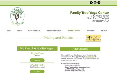 Screenshot of Pricing Page familytreeyoga.net - Family Tree Yoga Center | PRICING & POLICIES - captured Jan. 28, 2017