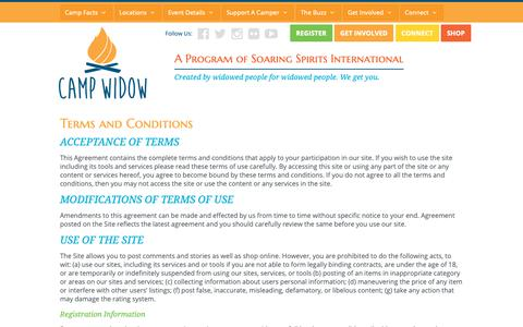 Screenshot of Terms Page campwidow.org - Terms and Conditions - Camp Widow - captured Oct. 22, 2018