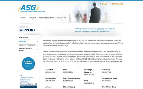 Screenshot of Support Page associatedsalesgroup.com - ASG - Contact ASG, telecom solutions, support - captured Oct. 4, 2014