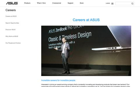 Screenshot of Jobs Page asus.com - Careers - Careers at ASUS - captured April 22, 2016