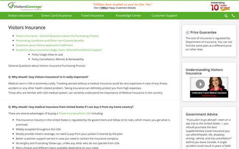Screenshot of FAQ Page visitorscoverage.com - Visitors Insurance USA FAQs, American Visitor Insurance FAQs - captured Aug. 13, 2016
