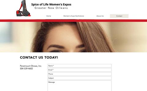 Screenshot of Contact Page spiceoflifewomensexpo.com - Contact Spice of Life Women's Expo | New Orleans | Covington - captured Oct. 19, 2018