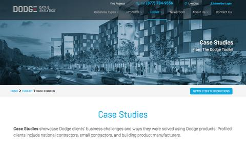 Screenshot of Case Studies Page construction.com - Case Studies | Construction Project Case Studies | Dodge Data and Analytics - captured March 22, 2017