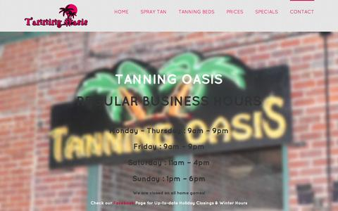 Screenshot of Hours Page tanningoasisdowntown.com - Hours of Operation - Tanning Oasis - captured Feb. 13, 2016