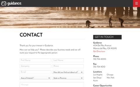 Screenshot of Contact Page guidance.com - Get in Touch | Contact Us | Guidance - captured May 25, 2017
