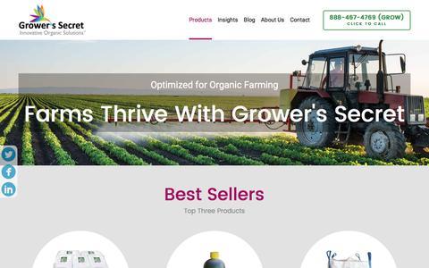 Screenshot of Products Page growerssecret.com - Grower's Secret Products - captured Nov. 16, 2016