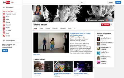 Screenshot of YouTube Page youtube.com - Swetha Jairam  - YouTube - captured Oct. 27, 2014