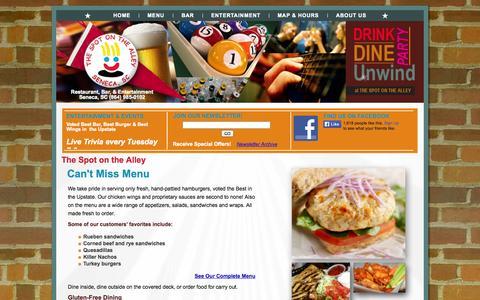 Screenshot of Menu Page thespot.us - Seneca, SC Restaurant (864) 985-0102 | The Spot on the Alley - captured Oct. 9, 2014