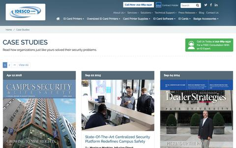 Screenshot of Case Studies Page idesco.com - Case Studies - captured Oct. 11, 2018