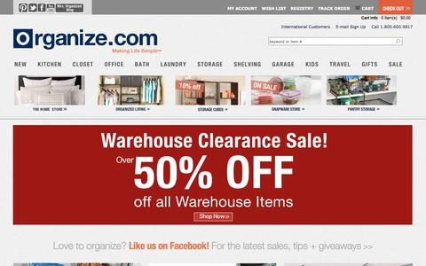 Screenshot of Home Page Site Map Page organize.com - Organize.com | Complete Home Organization and Storage - captured Sept. 19, 2014