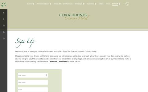 Screenshot of Signup Page foxandhoundshotel.co.uk - Sign Up – Fox and Hounds Hotel | North Devon | Weddings | Fishing | Dog Friendly | Treehouse | Family Hotel - captured Oct. 11, 2018