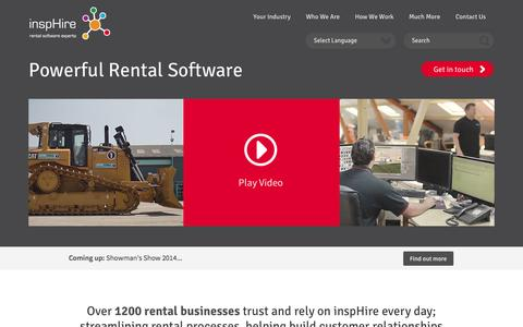 Screenshot of Home Page insphire.com - Powerful Equipment Hire Software & Rental Software | inspHire - captured Jan. 27, 2015