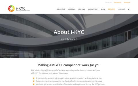 Screenshot of About Page i-kyc.com - About us - international KYC - captured Dec. 20, 2018
