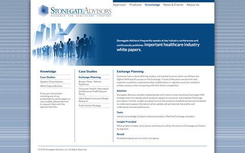 Screenshot of Case Studies Page stonegateadvisors.com - Case Studies | Wellness Strategy, Go-To-Market, Care Management, Scenario Planning | Stonegate Advisors - captured Oct. 7, 2014