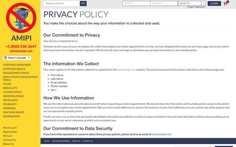 Screenshot of Privacy Page amipi.com - Privacy Policy - captured Nov. 19, 2016