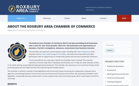 Screenshot of About Page roxburynjchamber.org - About the Roxbury Area Chamber of Commerce - captured Oct. 18, 2018