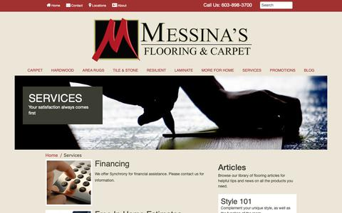 Screenshot of Services Page messinasflooring.com - From facts to fashion, our service makes purchasing beautiful floors easy! Visit Messina's Flooring & Carpet. - captured Dec. 20, 2018