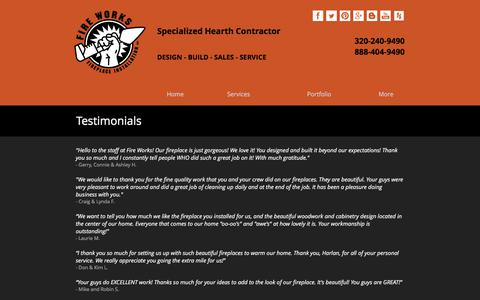 Screenshot of Testimonials Page fire-works-fireplace.com - Testimonials | Recommended Service - captured June 6, 2017