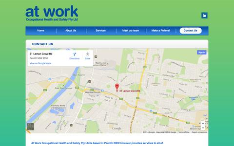 Screenshot of Contact Page atworkohs.com.au - Contact Us | At Work OH&S - captured Sept. 30, 2014