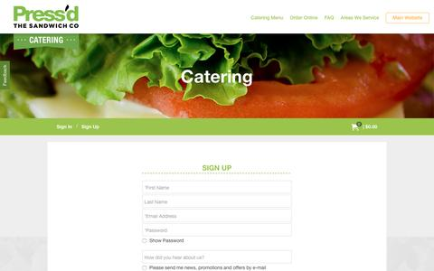 Screenshot of Signup Page pressdsandwiches.ca - catering.pressdsandwiches.ca | Press'd The Sandwich Company - captured May 4, 2017