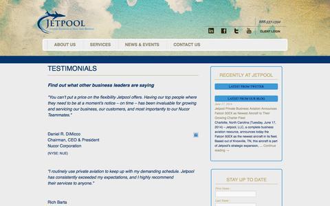 Screenshot of Testimonials Page flyjetpool.com - TESTIMONIALS | Jetpool - captured Oct. 4, 2014