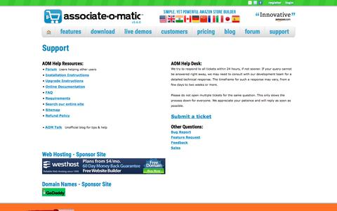 Screenshot of Support Page associate-o-matic.com - Associate-O-Matic | Support - captured July 31, 2018