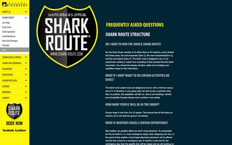 Screenshot of FAQ Page oceans-discovery.com - Frequently Asked Questions   The Shark Route   Oceans Discovery - captured Oct. 27, 2014