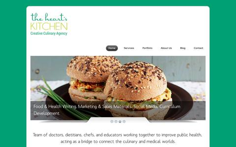 Screenshot of Home Page theheartskitchen.com - The Heart's Kitchen - Creative Culinary Agency - captured Jan. 11, 2016