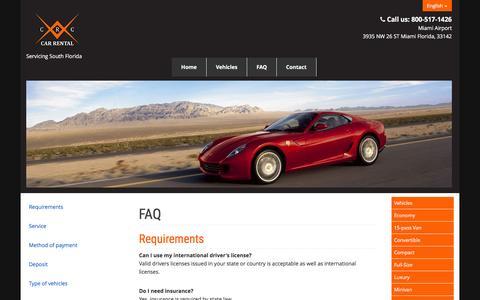Screenshot of FAQ Page crcrentacar.com - FAQ - captured Jan. 23, 2016