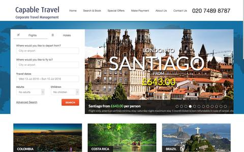 Screenshot of Home Page capabletravel.com - Capable Travel - captured July 10, 2016