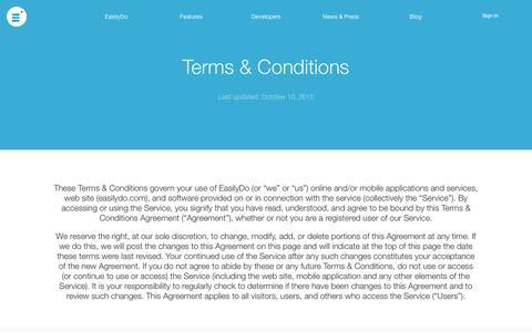 Screenshot of Terms Page easilydo.com - EasilyDo   Terms & Conditions - captured Nov. 18, 2015