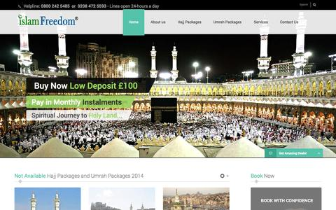 Screenshot of Home Page islamfreedom.com - Islam Freedom Offers UK's Best Hajj and Umrah Packages - captured Sept. 25, 2014