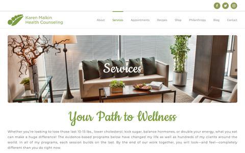 Screenshot of Services Page karenmalkin.com - Services - Karen Malkin Health Counseling - captured Dec. 20, 2018