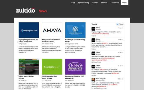 Screenshot of Press Page zukido.com - Zukido > News - captured Sept. 30, 2014