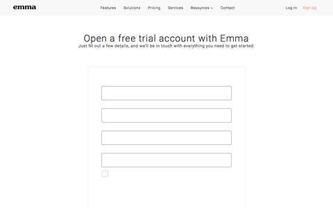 Screenshot of Trial Page myemma.com - Get Started - Email Marketing Contact Form | Emma Email Marketing - captured Nov. 27, 2019