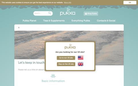 Screenshot of Signup Page pukkaherbs.com - Let's keep in touch | Thank You | Pukka Herbs - captured May 23, 2017