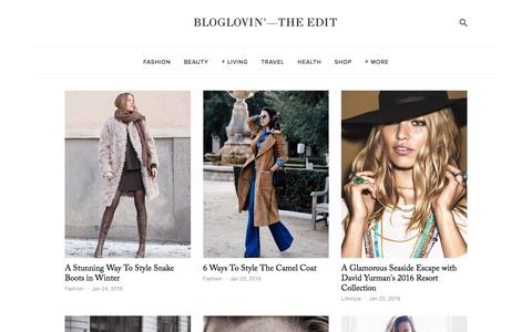 Screenshot of Blog bloglovin.com - Bloglovin'—the Edit - captured Jan. 24, 2016