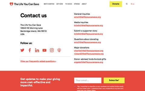 Screenshot of Contact Page thelifeyoucansave.org - Contact Us - The Life You Can Save - captured Dec. 4, 2019