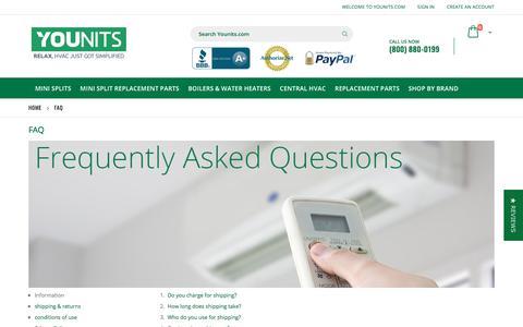 Screenshot of FAQ Page younits.com - FAQ - captured Sept. 23, 2018
