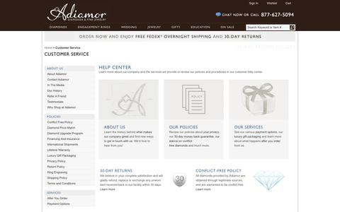 Screenshot of Support Page adiamor.com - Customer Service | Adiamor - captured Sept. 19, 2014