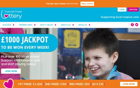 Screenshot of Home Page tclottery.org.uk - Welcome - Tuckwell Chase Lottery - captured Oct. 27, 2018