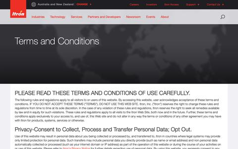 Screenshot of Terms Page itron.com - Terms and Conditions - captured April 4, 2019