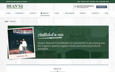 Screenshot of About Page deansnaturalfoodmarket.com - About Dean's Natural Food Market | Organic, Natural, Non-GMO Grocery - captured Nov. 6, 2018