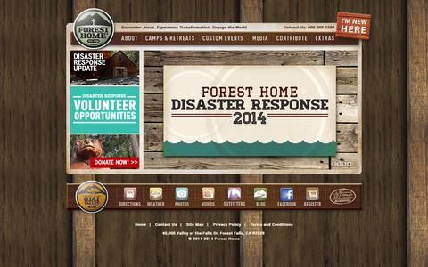 Screenshot of Home Page foresthome.org - Forest Home - captured Sept. 22, 2014