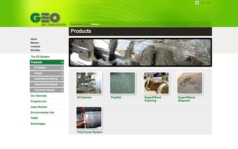 Screenshot of Products Page geosoil.com - GEO - captured Oct. 1, 2014