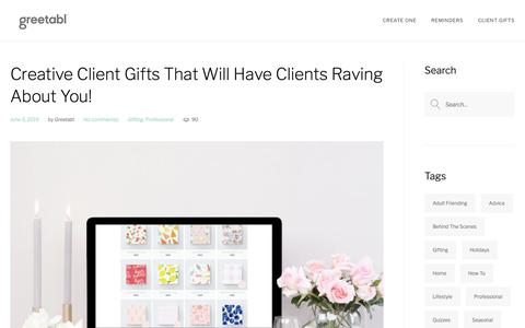 Screenshot of Blog greetabl.com - Creative Client Gifts That Will Have Clients Raving About You! - The Greetabl Blog - captured June 15, 2019