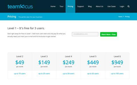Screenshot of Pricing Page teamfocus.me - Pricing - teamfocus | project team management | web-based task management - captured Oct. 18, 2018