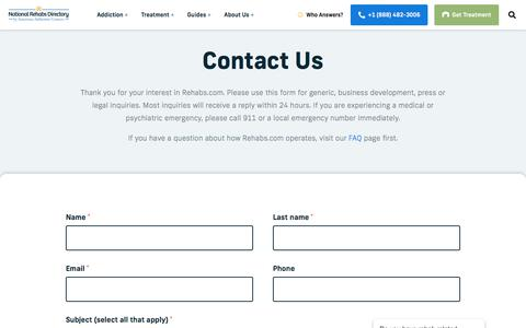 Screenshot of Contact Page rehabs.com - Contact Us - Drug Rehab Options - captured Feb. 13, 2020